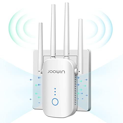 JOOWIN Amplificador WiFi 1200Mbps Repetidor WiFi, Extensor de Red WiFi de Doble Banda 5G y 2,4G Compatible con enrutador / Ap / repetidor / Modo Puente con 4 Antenas, Puerto Ethernet