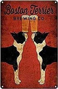 Eletina vintage metal Wall Art Decoration - Boston Terrier Brewing Co. Beer Craf G Vintage Funny 8x12 Inch Retro Look Home Decor Club Bar Poster, V14