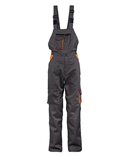 Stenso Desman® - Pantalones con Peto de Trabajo para Hombre - Gris/Naranja - 58