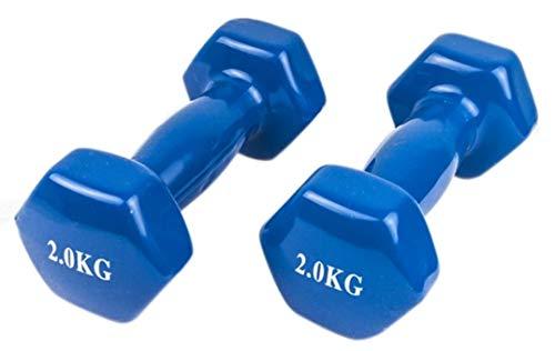Generico Manubri Pesi per Palestra Fitness Yoga Esercizio Casa in Vinile (Set di 2) da 2kg -8kg (Blu, 2kgx2)*4kg in Totale*
