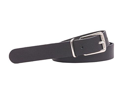 Echtledergürtel Ledergürtel 2cm Breite Deutsche Qualität Bundweite 75cm bis 115cm (Bundweite 70cm = Gesamtlänge 85cm, schwarz)