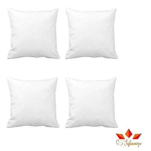 Aricca Microfiber Small Cushion Set (White, 12x12-inch) - 4 Pieces