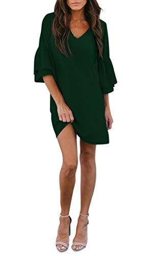 BELONGSCI Women's Dress Sweet & Cute V-Neck Bell Sleeve Shift Dress...