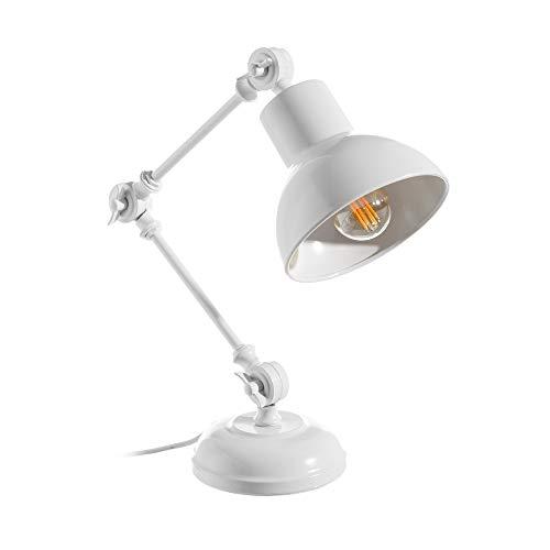 Lámpara flexo de escritorio vintage de metal blanca de 45 cm - LOLAhome