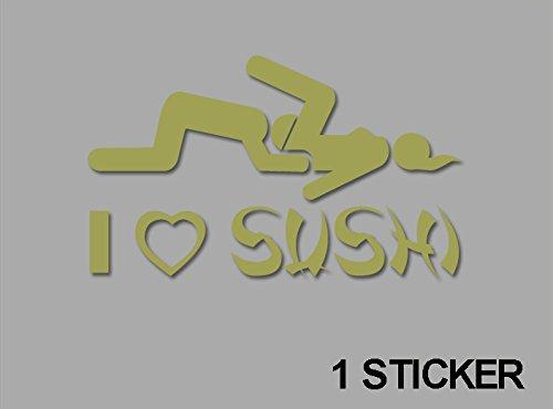 Ecoshirt 07-TIIJ-LLIE Sticker I Love Sushi Jdm03 Sticker, zelfklevend, Tuning, Goud, 10 cm