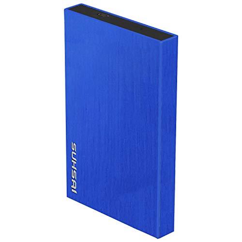 Suhsai - Disco duro externo portátil para guardar datos, películas, música y disco duro externo 2.0 USB compatible con SmartTV, Mac, portátil, tableta y PC azul azul 100GB
