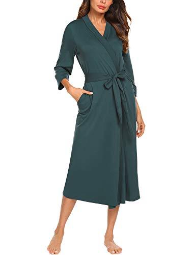 UNibelle Damen Morgenmantel Lange Ärmel Bademantel Kimono Baumwolle Saunamantel V-Ausschnitt Nachtwäsche XL A-dunkelgrün