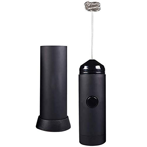 Gaoominy Espumador de leche de mano – Funciona con pilas – Incluye soporte de cocina, batidor de leche caliente con leche, mezclador de café