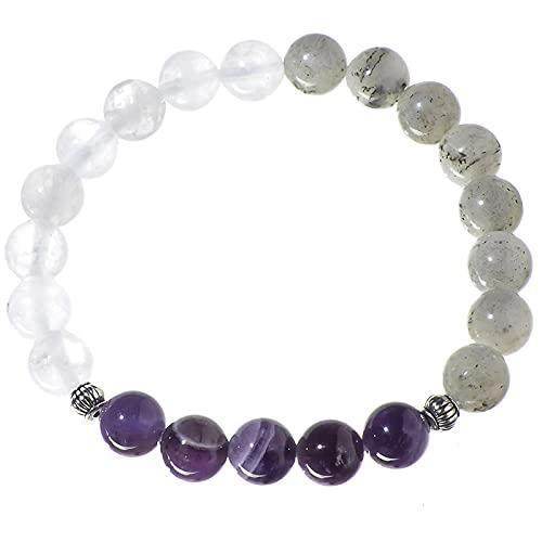 Collar de amatista de labradorita gris de calcedonia blanca natural de 8 mm, pulsera de 108 conjuntos de joyas de Japa Mala, colgante de yoga de meditación