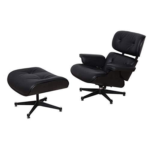 CN Cover Lounge Chair Und Ottoman, Drehbarer Liegestuhl Mit Fußschemel Verstellbarer Lounge Chair Freizeit-Sessel Für Home Office Und Arbeitszimmer - Schwarz