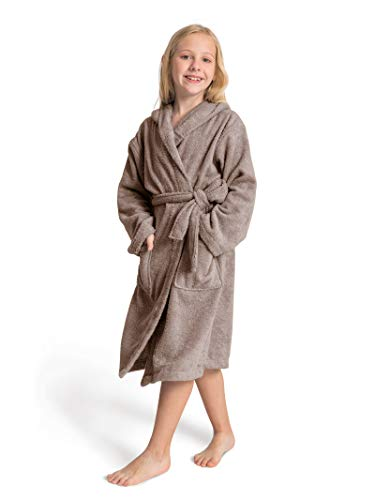 SIORO Terry Cloth Robes for Kids Cotton Bathrobe for Girls Boys Hooded Warm Robe Long Soft Sleepwear Nightgown Christmas Robe Falcon Grey 4-5T