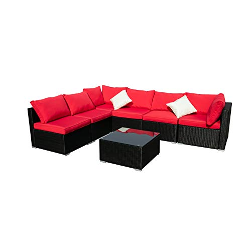 Diophros 7 Pieces Patio Furniture Sets, Outdoor All-Weather Sectional Sofa, Weaving Wicker Rattan Patio Conversation Set with Cushions & Glass Coffee Table (Red)