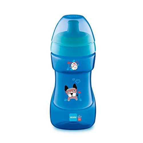 MAM Sports Cup D111 - Vaso de Aprendizaje Antiderrame Válvula de Control de Flujo, 330ml, Taza Antigoteo fácil de sujetar, para Bebé a partir de 12+ meses, Azul