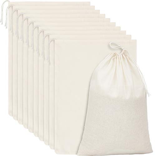 15 Packs Cotton Muslin Bags with Drawstring, Natural Color (13.8 x 10 Inches)