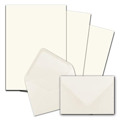 50x Briefpapier-Sets DIN A4 mit C6 Briefumschlägen, Nassklebung - Naturweiß - mattes Schreibpapier mit Kuverts - FarbenFroh by GUSTAV NEUSER