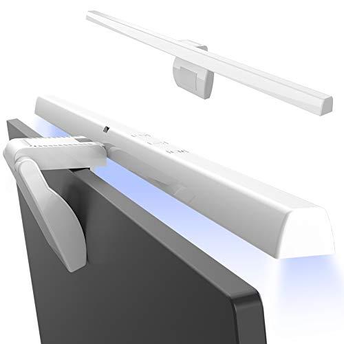 HIMAKOVO Lámpara de Lectura para Juegos, Lampara Monitor USB con Temperaturas Ajustables en frío/cálido/Blanco, Ajuste Continuo, Protección Ocular para Monitor LCD,Blanco