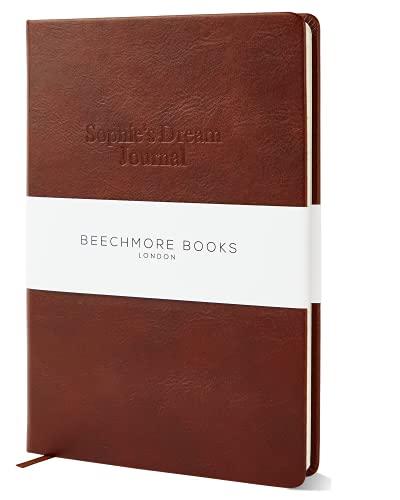 Personalisierbares Buchbuch aus veganem Leder, Hardcover-Notizbuch mit individueller Gestaltung, dickes liniertes Papier, 120 g/m², Geschenkbox, Kastanienbraun