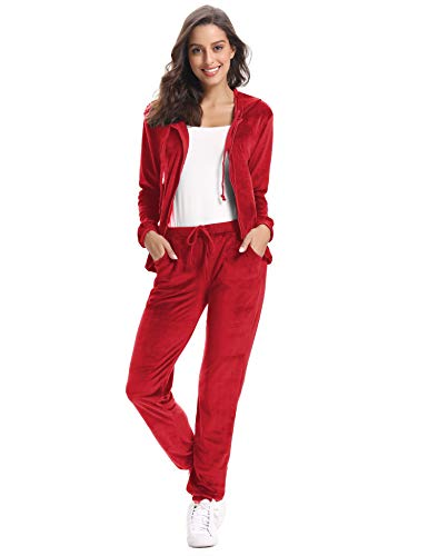 Aibrou Chandal Mujer Completo de Terciopelo,Conjunto Chándal Talla Grande,Sudadera con Capucha Cremallera con Pantalón,Conjunto Deportivo de Terciopelo,Pijamas, (Rojo 2, XXL)