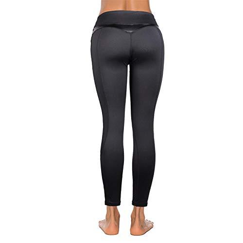 Rrui Panty voor dames, leggings voor dames, vrouwen, naden, yoga, mesh, PU-leer, zwarte broek, sport, heupen, fitness, broek, vrouwen