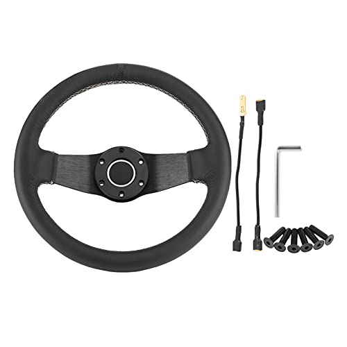 YUYAOYAO 320mm / 13in Fit para Sparco Style SPARCO 6-Bollo Medio Plato de Cuero Negro Racing Vining Wheel W/Horn Aluminum Alloy Car Modified Accesorio