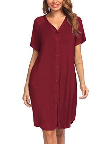 Ekouaer Damen Nachthemd Kurz Stillnachthemd Nachthemden Kurzarm Nachtwäsche Umstandsmode mit Durchgehender Knopfleiste geburtshemd für Schwangere rot XL