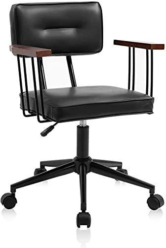 YAMASORO Bürostuhl Ergonomisch Retro Schreibtischstuhl Massivholz Armlehne Bürostuhl Leder Höhenverstellbar Drehstuhl Mit Rollen Rückenlehne Chefsessel Leder Für Office Chair 130Kg Stuhl Vintage