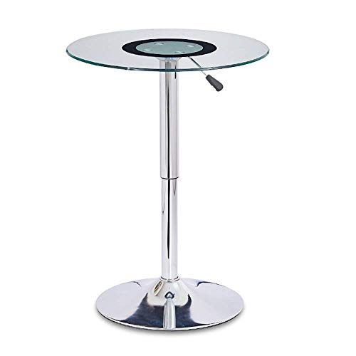 zvcv End Tables Height Adjustable Bar Table ,Tempered Glass Small Round Table ,Side Table, Negotiating Table,23.6″x21.6″-30.7″