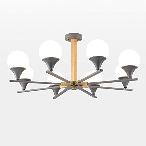 Lámpara de techo moderna de madera gris, para salón, comedor, rústica, con pantalla de cristal, 3 luces, 8 luces, 8 luces