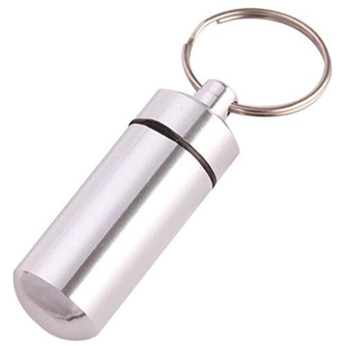 Alluminio Hengsong impermeabile Mini capsula pillole confezione scatola porta pillole compresse per albero di Natale con gancio portachiavi taglia unica argento