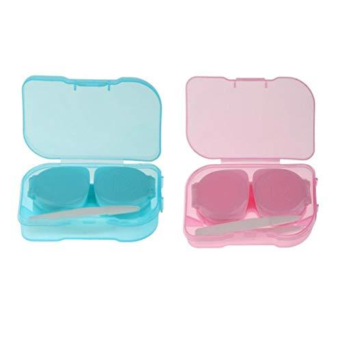 MERIGLARE Packung Mit 2 Tragbaren Kontaktlinsen Aufbewahrungsbox Einweichkofferhalter Organisatoren
