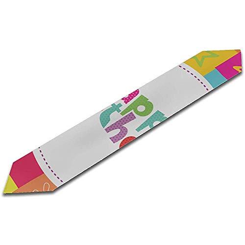 GABRI 13X90 inch Esstisch Läufer Bauernhaus Alles Gute zum Geburtstag Karte Design Vektor-Illustration Drucken Küchentisch Läufer Esstisch Läufer