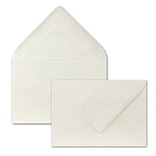 50 Briefumschläge Creme - DIN C6 - mit gehämmerter Oberfläche, gefüttert mit Seidenpapier - 80 g/m² - 162 x 114 mm - Nassklebung - PREMIUMQUALITÄT