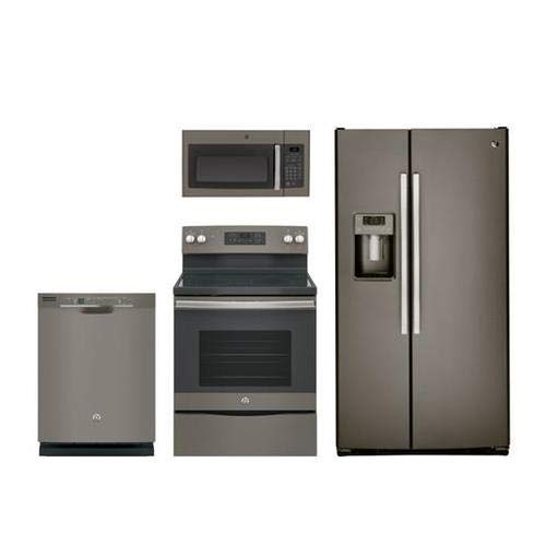 GE 4 Pcs Kitchen Appliance Package With JB645EKES 30' Elec. Range, JVM3160EFES Over The Range Microwave Oven, GSS25GMHES 36' Side By Side Refrigerator and GDT605PMMES 24' Built In Dishwasher In Slate