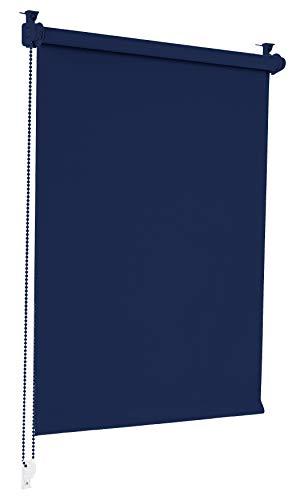 Sonello Verdunkelungsrollo Klemmfix ohne Bohren 80cm x 130cm Dunkelblau Verdunklungsrollo Fensterrollo Rollo Seitenzugrollo Klemmrollo für Fenster & Tür