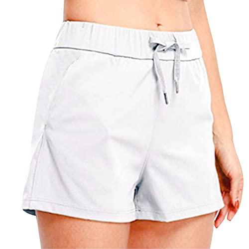 Pantalones cortos de deporte para mujer, con cordón y bolsillos, holgados, para correr, con rayas, ropa de noche, Blanco, XL