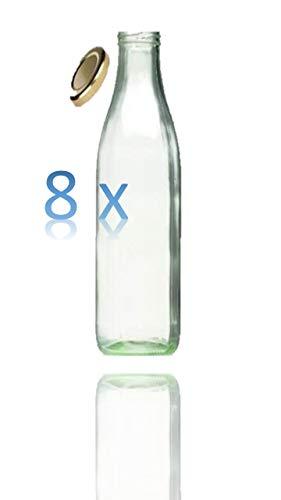 8 Leere Glasflaschen 1l inkl. Twist-Off-Schraubdeckeln TO48 - Glasflasche 1 Liter (Weithalsflasche) geeignet als Milchflasche 1l, Saftflasche, Smoothie Flasche