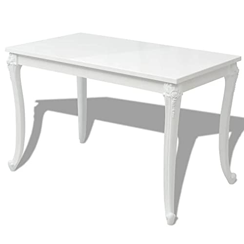 vidaXL Tavolo da Pranzo 120x70x76 cm Bianco Lucido