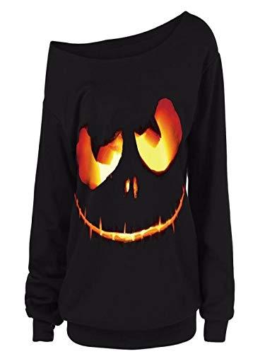 Auifor Camisa de la Camisa del suéter con Capucha de Calabaza de Halloween Demonio suéter de Las Mujeres de Gran tamaño más el tamaño