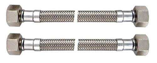 BENE Latiguillo Inoxidable Conexion Flexible, DN 8, Hembra 1/2-Hembra 1/2, Longitud 300mm, Homologaciones para agua potable ha KTW y aprobación DVGW, 2 Piezas