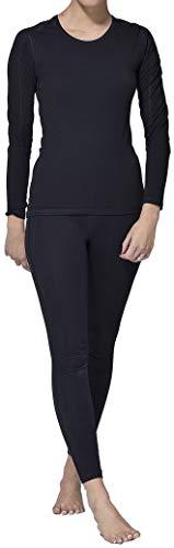 Thermo ondergoed set voor dames lang - dames thermo-ondergoed ski-ondergoed set (shirt lang + broek lang) zwart