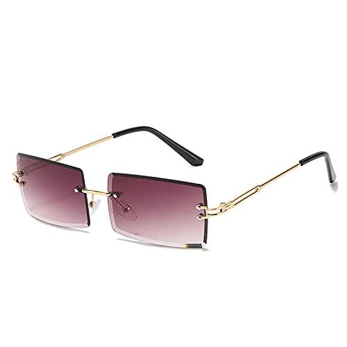 Gafas De Sol Hombre Mujeres Ciclismo Gafas De Sol Cuadradas Sin Montura De Moda Gafas De Sol para Mujer Gafas De Sol Cuadradas Coloridas De Metal-Gold_Gradient_Purple