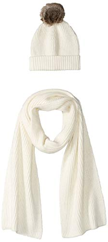 Amazon Essentials Women's Pom Knit Hat and Scarf Set, Ivory, One Size
