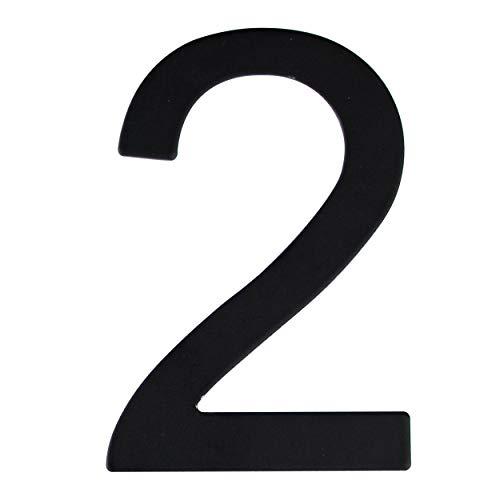 Número de calle en acero inoxidable negro mate, con dorso adhesivo, con una altura de 76 mm, número de casa, diseño de puerta (2)