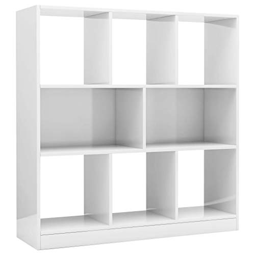 vidaXL Bücherregal mit 8 großen Fächern Standregal Aktenregal Wandregal Raumteiler Raumtrenner Regal Hochglanz-Weiß 97,5x29,5x100cm Spanplatte