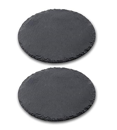 Set di 2 piatti in ardesia rotondi da 25 cm di diametro, pietra ardesia nera naturale con bordi finitura rustica, protezioni antiscivolo sulla base, sottopiatti, adatti per uso alimentare