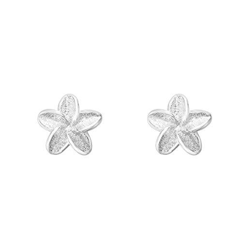 Flechazo 4mm/6mm Flor Frangipani Botón Pendientes para Mujer Niña Plata de ley 925 Cartílago Helix Piercing Oreja Perno Stud