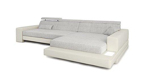 Bullhoff by Giovanni Capellini Ecksofa Couch L-Form weiß/grau Platin Leder Wohnlandschaft + Stoff Sofa modern Eckcouch Designersofa mit LED-Licht Beleuchtung Imola III
