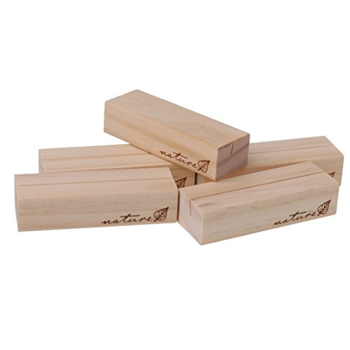 MonkeyJack 5 Pieces Wooden Cuboid Name Memo Place Card Holders Restaurant Cafe Menu Clip Stand Wedding Reception Party Favors Table Decor