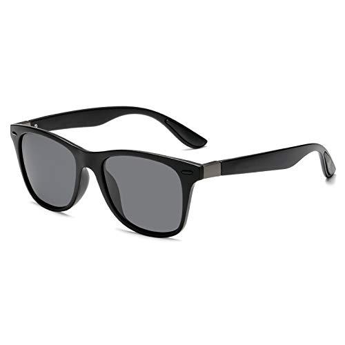 Gafas De Sol Casuales para Hombre Gafas De Sol Polarizadas Gafas Al Aire Libre Zhenzhiyangshangmao (Size : Black Box Black Rice)