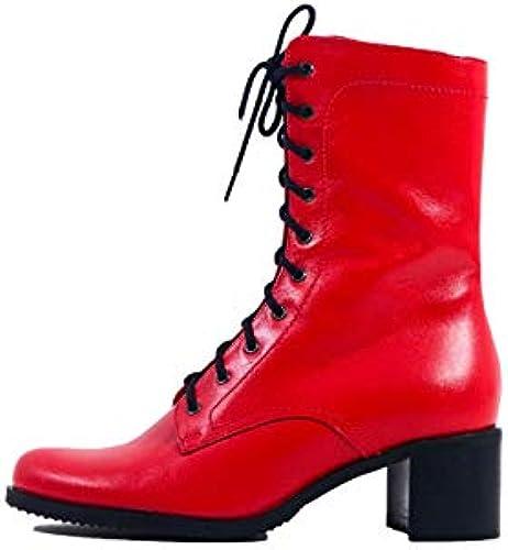 Arka1927 Stiefel XLIII - Luxus Handgefertigt Rindsleder Stiefeletten Czerwień Czerwień Czerwień Damen Classic Designer Abendschuhe  bester Preis